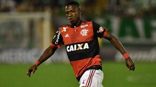 Vinicius, en un partido con el Flamengo.