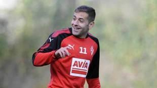 Peña, durante un entrenamiento con el Eibar.