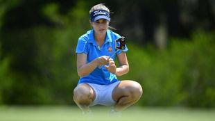 Luna Sobrón, durante la segunda jornada del Open de Australia de...