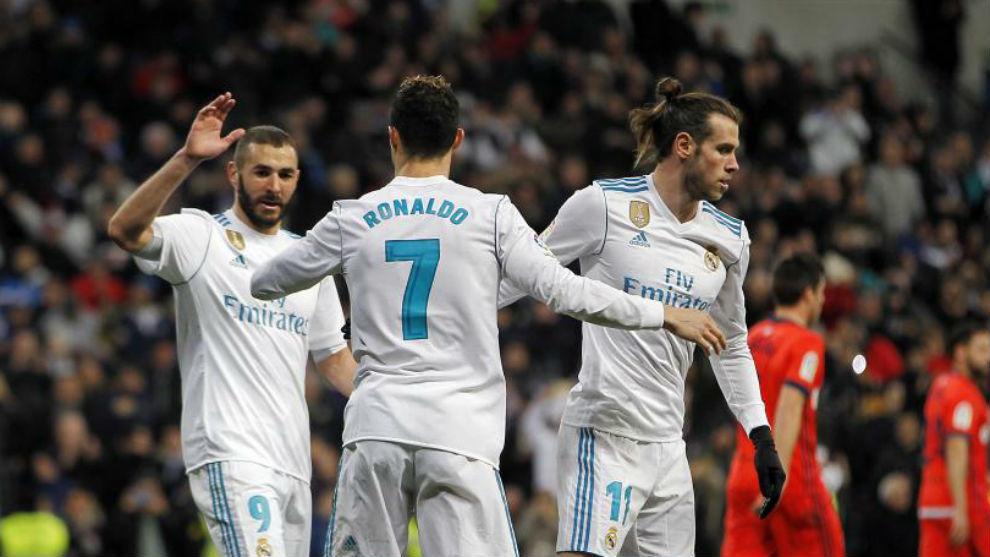 La BBC celebra un gol a la Real Sociedad en el último partido de...