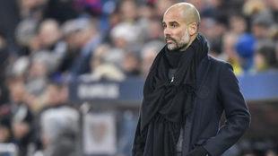 Guardiola, durante el choque ante el Basilea.