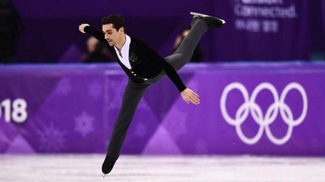 Javier Fernández, durante el programa corto en Pyeongchang