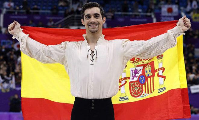 Javier Fernández, exultante tras conquistar el bronce olímpico en...