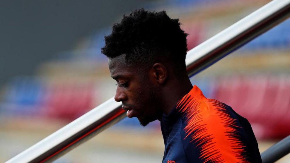 Dembélé, en un entrenamiento del Barça reciente