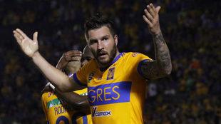 Gignac celebra su gol ante Atlas, el 71 con la camiseta de Tigres