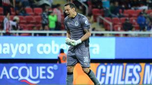 Rodolfo Cota celebra el gol de Oswaldo Alanís