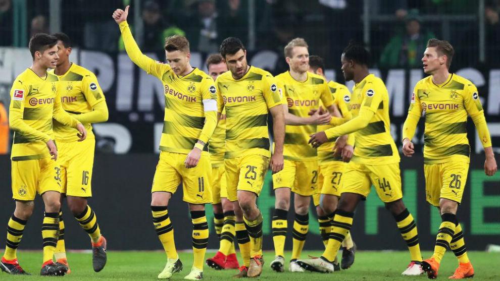 Marco Reus celebra su gol contra el Gladbach.