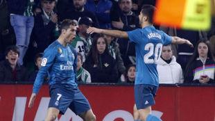 Cristiano celebra su gol en el Villamarín