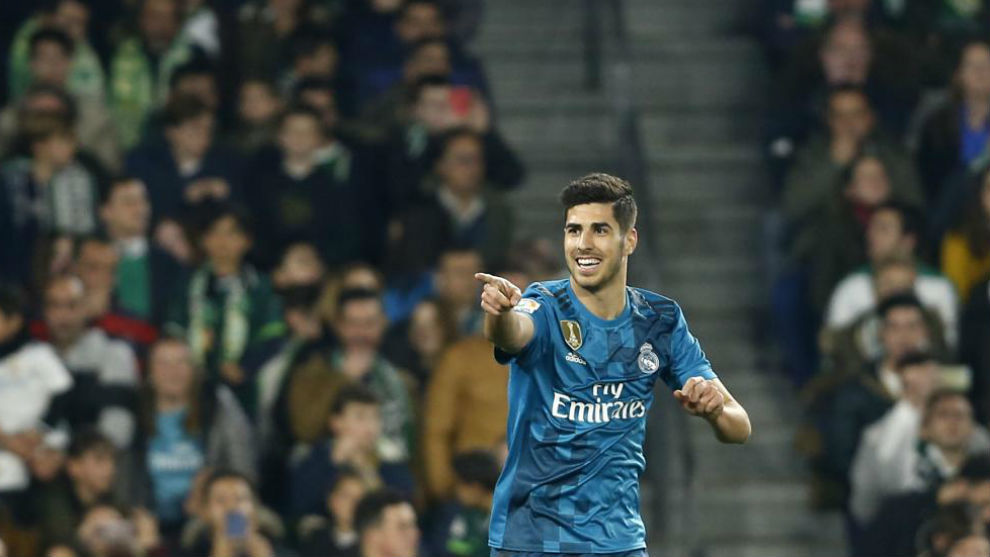 Asensio celebra un gol en el Villamarín