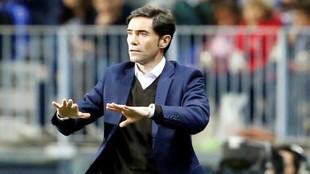 Marcelino, durante el partido de Málaga.