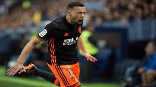 Coquelin celebra el tanto que anotó al Málaga.
