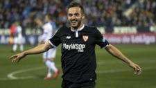 Pablo Sarabia (25) celebra su gol ante el Leganés en Butarque en la...