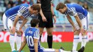 Xabi Prieto, en el suelo tras lesionarse contra el Levante.