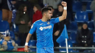 Ángel celebra uno de sus goles.