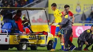 Peñalba, con problemas físicos en un partido con la UD.