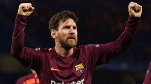 Leo Messi celebra su gol con el FC Barcelona