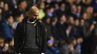 El entrenador del Manchester City durante el partido de la FA Cup...