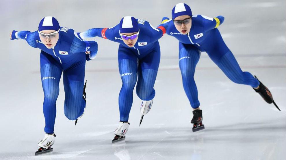 Noh Seon-Yeong, Kim Bo-Reum y Park Ji Woo, durante su prueba.