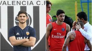 Guedes, con el Valencia y con el PSG, en un encuentro con el...