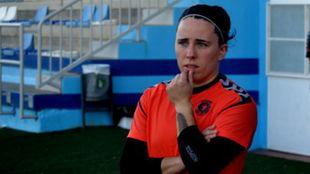 Oihana Aldai durante un entrenamiento del Zaragoza CFF.