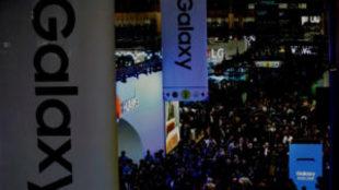 Vista de uno de los pabellones del Mobile World Congress (MWC), en la...