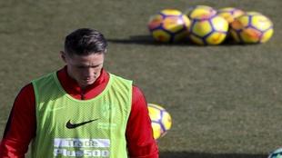 Fernando Torres durante un entrenamiento del Club Atlético de Madrid