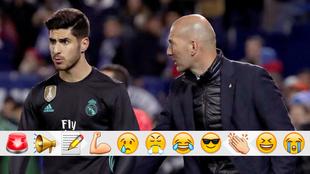 Zidane dialoga con Asensio en el duelo contra el Leganés
