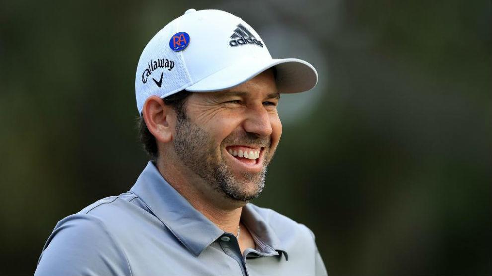 Sergio García se divierte durante una ronda de prácticas en el PGA...