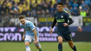 Joao Cancelo en un partido con el Inter de Milan.