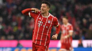 Lewandowski celebrando uno de los múltiples goles con el Bayern