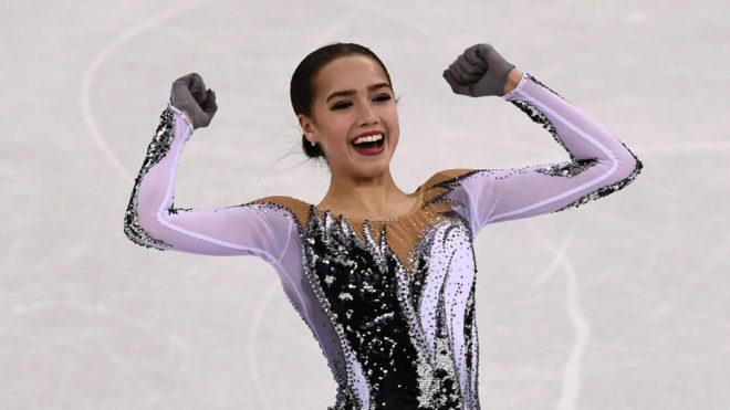 Alina Zagitova celebra su gran programa corto.