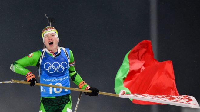 Darya Domracheva, nada más ganar el oro con Bielorrusia.
