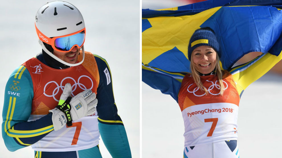 André Myhrer y Frida Hansdotter, momentos después de ganar el oro...