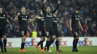 Extxeita celebra su gol ante el Spartak