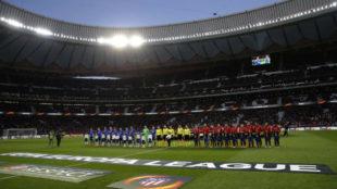 Los onces de Atlético y Copenhague en el Metropolitano.