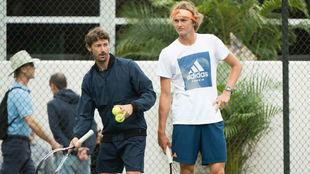Ferrero y Zverev, en un entrenamiento