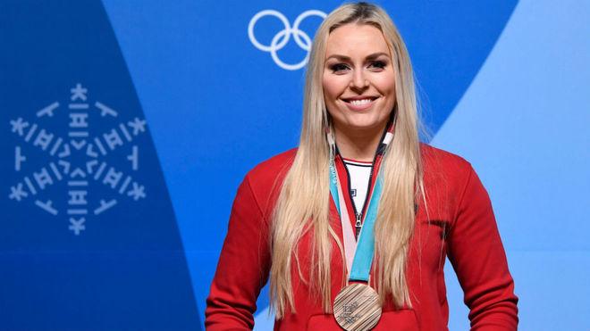 Lindsey Vonn, eon la medalla de bronce ganada en el descenso.