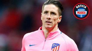 Fernando Torres, en el calentamiento frente al Copenhague.