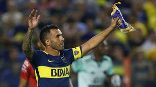 Carlos Tévez, gran estrella de Boca Juniors.