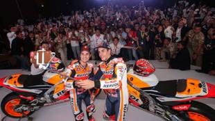 Márquez y Pedrosa, durante la presentación de Honda en Yakarta