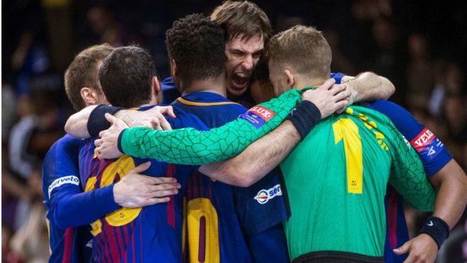 Los jugadores del Barcelona celebran una victoria en la 'Champions'