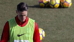 Fernando Torres, en un entrenamiento del Atlético de Madrid