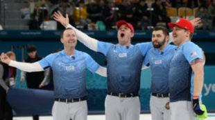 Tyler George, John Shuster, John Landsteiner y Matt Hamilton celebran...