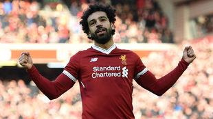 Salah celebra su gol.