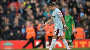Chicharito, en la derrota del West Ham contra el Liverpool.