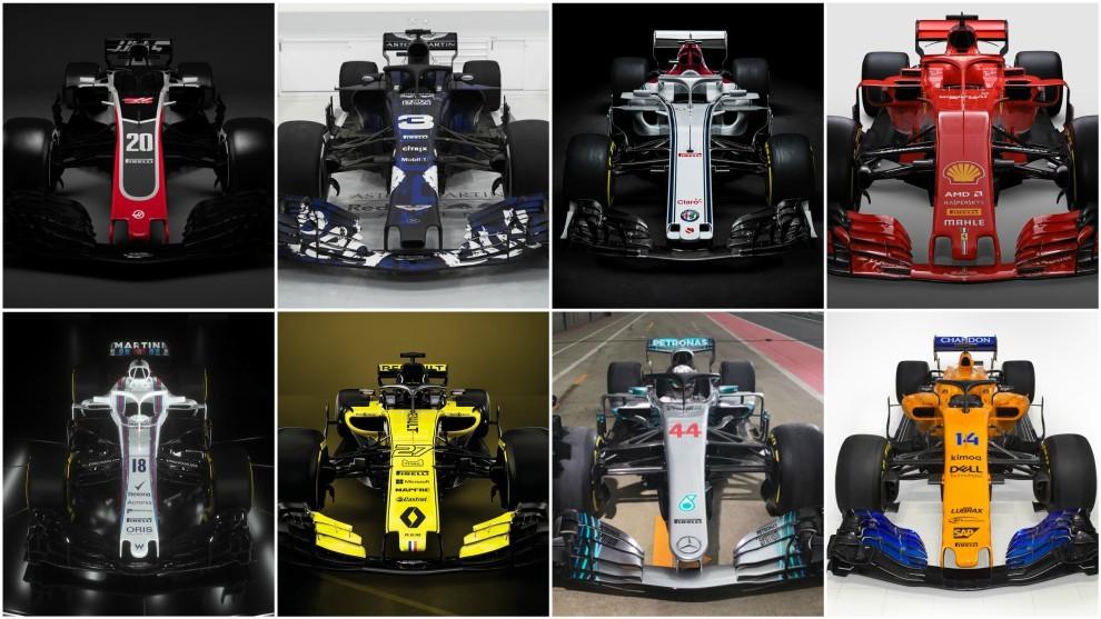 Los ocho monoplazas presentados: Haas, Williams, Red Bull, Renault,...