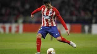 Gaitán durante un partido del Atlético de Madrid.