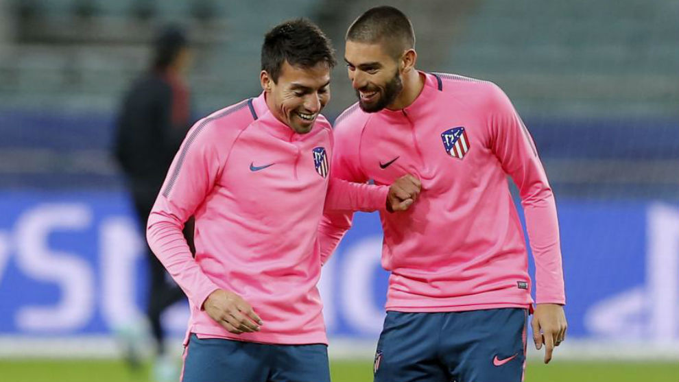 Gaitán y Carrasco, en un entrenamiento de Champions con el Atlético.