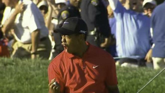 Tiger Woods tras ganar en el desempate del US Open 2008 a Rocco...
