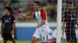 Marcos Cáceres celebra su gol ante el Monagas.